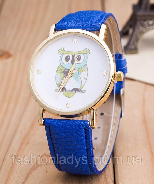 Часы Женева Geneva Сова синий ремешок