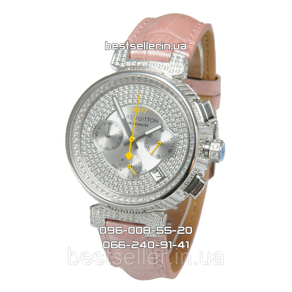 c42d0434 Часы Louis Vuitton Tambour LV277 Diamond Silver/White/Pink. Реплика: Elite