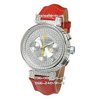 Часы Louis Vuitton Tambour LV277 Diamond Silver/White/Red. Класс: Elite.