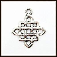 """Метал. подвеска """"Кельтский узел""""  серебро (2,5х2,1 см) 13 шт в уп."""