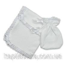 Аксессуары для крещения (салфетка,мешочек) Махра (белый)