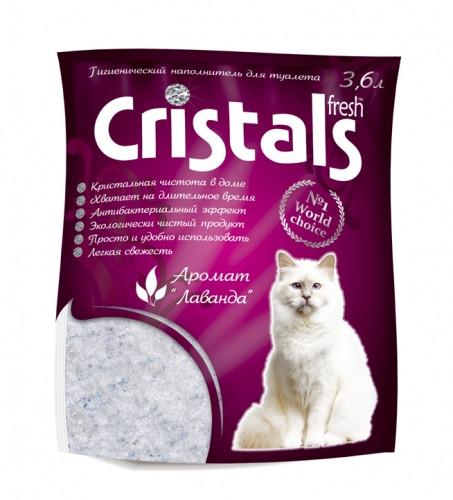 CRISTALS Fresh 3.6л (1.65кг) - силикагелевый наполнитель в кошачий туалет с ароматом лаванды