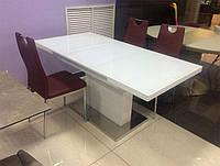 Стол обеденный раскладной модерн ТМ-60 белый, столешница МДФ покрыта каленым стеклом