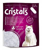 CRISTALS (Кристалс) Fresh 7.2л (3.1кг)- силикагелевый наполнитель в кошачий туалет с ароматом лаванды