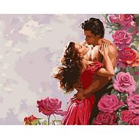 """Картины по цифрам """"Влюбленные среди роз"""" [40х50см, С Коробкой]"""
