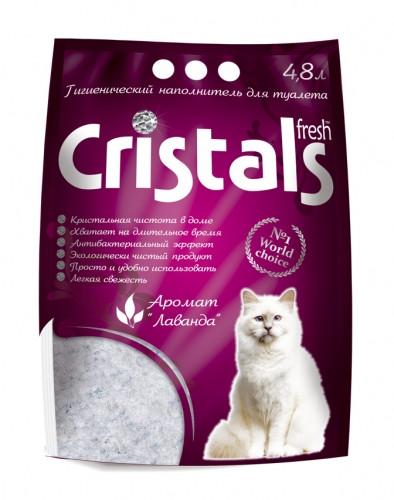 CRISTALS Fresh 4.8л (2кг) - силикагелевый наполнитель в кошачий туалет с ароматом лаванды