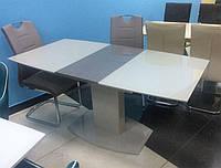 Стол раскладной ТМ-58 вставка МДФ капучино, столешница стекло капучино, 120-160х80х76Н