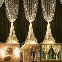 Штора 2х2м 320 led, цвет тепло-белый 8 режимов - декоративная гирлянда на Новый год