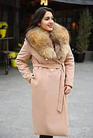 Зимнее кашемировое пальто с натуральным меховым воротником