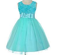 Д-101210 Платье на выпускной в детский садпышное бирюзовое