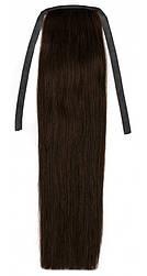 Накладної хвіст з натуральних волосся від 40 див. Колір #02 Темно-коричневий