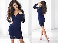 Красивое женское платье с синего гипюра (7 цветов) ТК/-01130