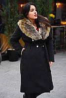 Зимнее кашемировое пальто с искусственным меховым воротником