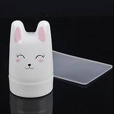 Стемпинг 1шт штамп силикон 3,5см круглый белый Зайчик со скребком пластик 5х8см