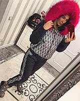 Женский теплый зимний костюм с ярким мехом tez33087, фото 1