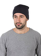 Шапка трикотажная мужская темно-синяя с отворотом, фото 1
