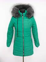 Молодёжная зимняя женская куртка бирюзового цвета