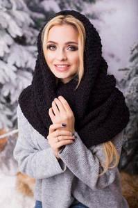 Зимовий чорний в'язаний хомут/шарф Licato