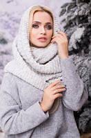 Зимовий світло-сірий в'язаний хомут/шарф Licato