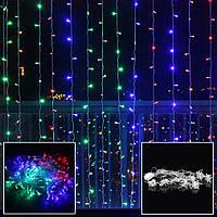 Штора 3х2м 500 led, цвет разноцветный - декоративная гирлянда на Новый год, фото 1