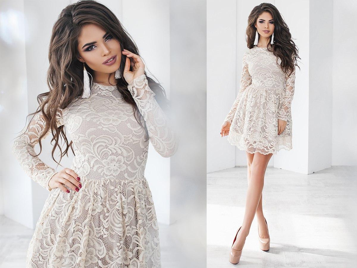99c3f53ad3e08ac Купить Гипюровое женское платье молочное (6 цветов) ТК/-02071 оптом ...