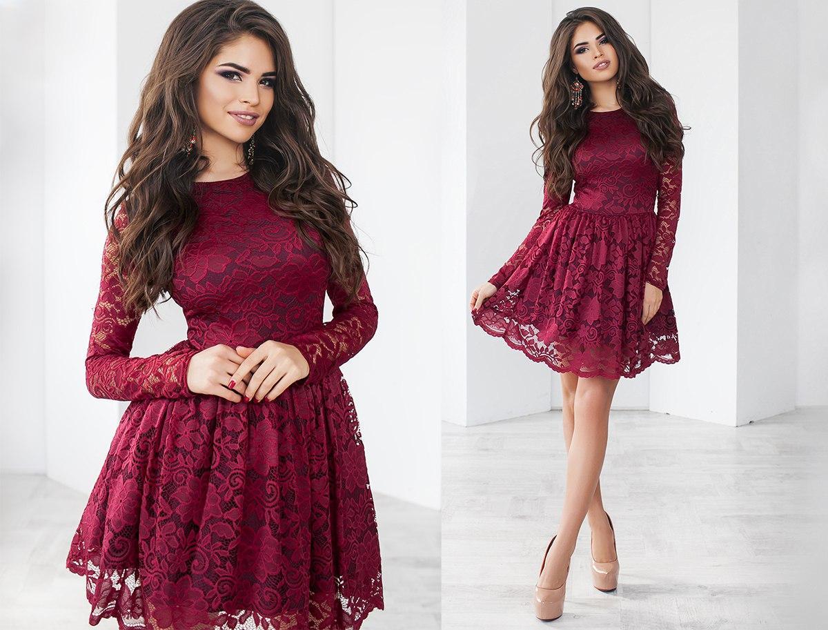 b4d5fd1f9feda9a Купить Гипюровое женское платье бордовое (6 цветов) ТК/-02071 оптом ...