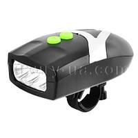 Велосипедный звонок + велофара YC-037, 3LED, 3хААА, waterproof