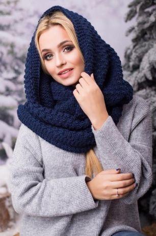 Зимовий темно-синій в'язаний хомут/снуд/шарф Licato