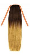 Накладной хвост из натуральных волос 40 см. Цвет #4/18, фото 1