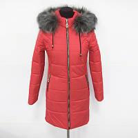 Молодёжная зимняя женская куртка красного цвета