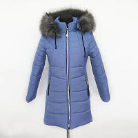 Молодёжная зимняя женская куртка цвета джинс