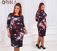 Женское трикотажное  платье в цветы батал
