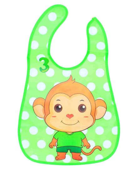 Слюнявчик фартук с ковшом для еды на липучке Little monkey (02154)