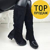 Женские зимние сапоги с шипами, черного цвета / высокие сапоги женские на меху, удобные, стильные