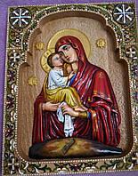 Икона Почаевской Богородицы резная расписанная маслом