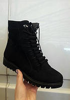 Женские зимние замшевые ботинки на шнуровке черные