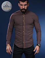 Коричневая мужская рубашка в мелкий рисунок, фото 1