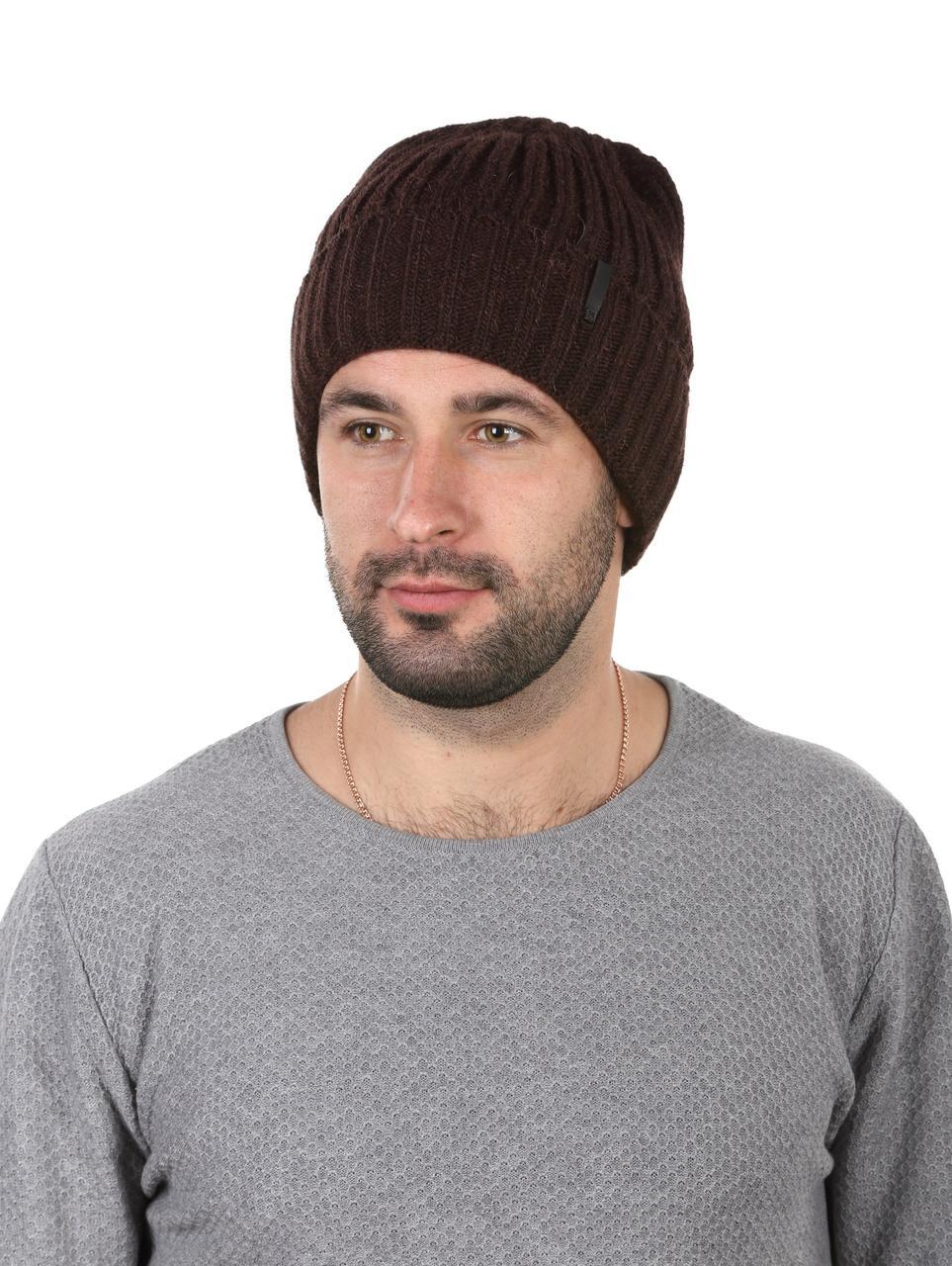 Шапка вязаная мужская утепленная  коричневая