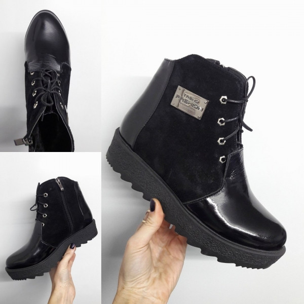 0ee83c44786c Стильные женские ботинки на тракторной подошве на шнуровке замшевые  комбинированные с лаковой кожей черные