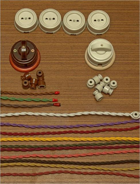 Ретро розетки и выключатели, ретро проводка