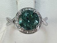 Кольцо с зеленым кварцем, белое золото 585 пробы