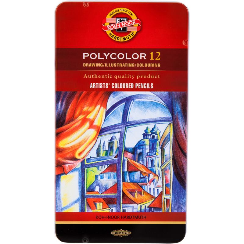 Карандаши художественные Polycolor  12 цветов в металлической коробке 3822