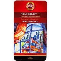 Карандаши художественные Polycolor  12 цветов в металлической коробке 3822, фото 1
