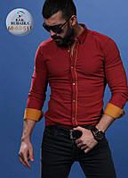 Мужская красная рубашка приталенного пошива, фото 1