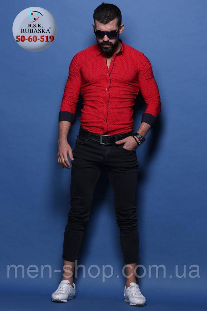 Мужская красная рубашка приталенного пошива
