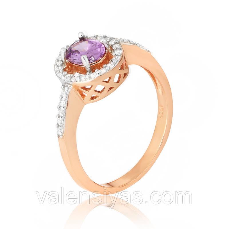 Серебряное кольцо с им. аметиста позолоченное КК3ФА/384