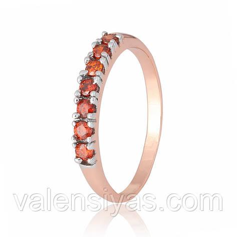 Срібне кільце з позолотою з червоними каменями КК3ФГ/020, фото 2