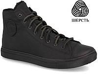 """Мужские кожаные кеды кроссовки ботинки  """"Forester"""" черные кожаные 41 и43р в наличии, фото 1"""