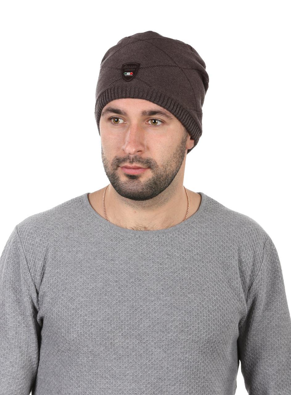 Шапка трикотажная мужская с кожаным ремешком коричневая