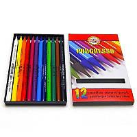 Карандаши цветные 12 штук Koh-i-noor Progresso бездревесные 8756